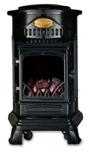 Black Gloss Provence Portable Real Flame Calor Gas Heater